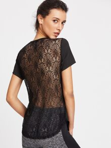 Contrast Lace Back Tee
