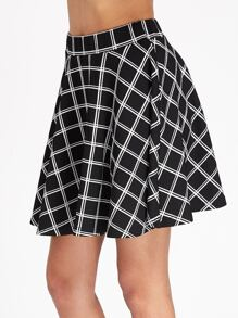 Elastic Waist Grid Swing Skirt