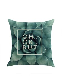 Plant And Letter Print Pillowcase Cover