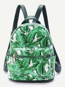 Leaf Print Front Zipper Backpack