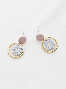 Marble Effect Ring Drop Earrings