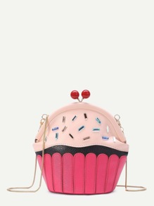 Cake Shaped Kiss Lock Chain Crossbody Bag