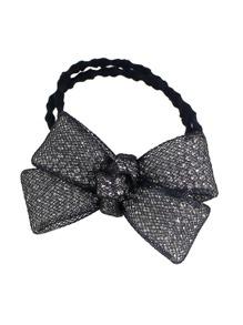 Black Color Trendy Multicolors Rhinestone Bow Elastic Hair Rope