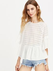 Keyhole Tie Back Ruffle Trim Eyelet Embroidered Top