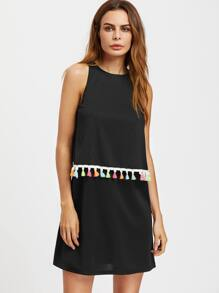 Tassel Trim Overlap Back Two Layer Dress