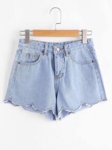 Chervon Hem Denim Shorts