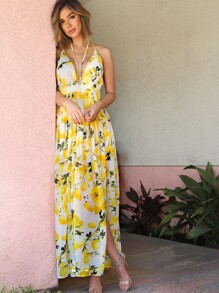 Lemon Print Chiffon Maxi Dress IVORY