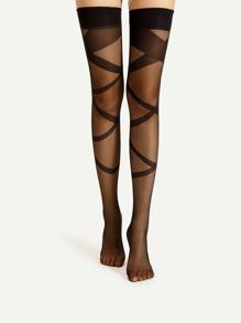 Criss Cross Pattern Thigh High Socks