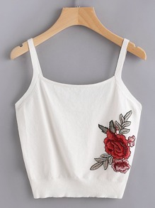 Embroidered Rose Patch Knit Cami Top