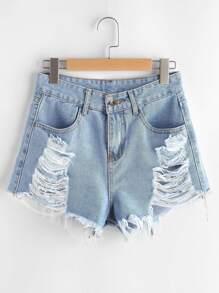 Ripped Frayed Hem Denim Shorts