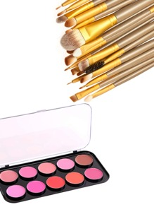 Lip Gloss Palette And Makeup Brush Set