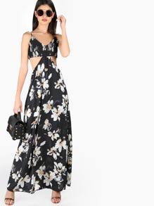 Side Cutout Floral Maxi Dress BLACK