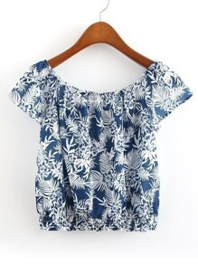 Boat Neckline Shirred Hem Crop Top