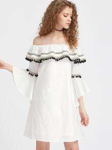 Pom Pom And Woven Tape Detail Fluted Sleeve Ruffle Dress