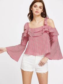 Tied Cold Shoulder Ruffle Trim Bell Sleeve Mixed Checkered Top