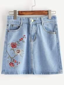 Embroidery Denim Skirt