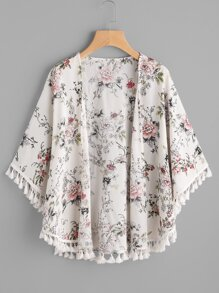 Tassel Trim Curved Hem Botanical Kimono