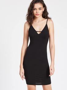 Strappy Low Back Plunging Cami Dress