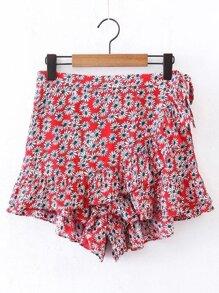 Ditsy Print Ruffle Layered Skirt Shorts