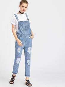 Ripped Rolled Hem Overall Jeans