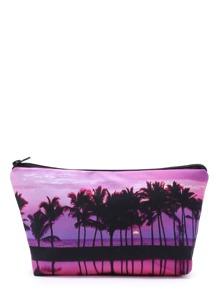 Palm Tree Print Makeup Bag