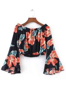 Flower Print Fluted Sleeve Bardot Top