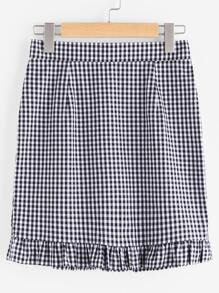 Zip Back Frilled Hem Gingham Skirt