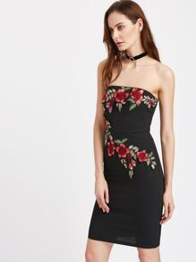Embroidered Blossom Embellished Bandeau Dress