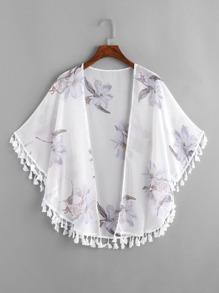 Floral Print Fringe Trim Kimono