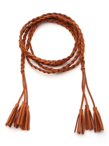 Braided Tie Belt With Tassel