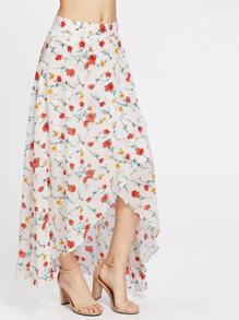 High-Low Hemlines Floral Zipper Side Skirt