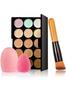 Concealer Palette And Puff Set With Brush