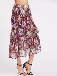 Flower Cluster Print Asymmetric Ruffle Skirt