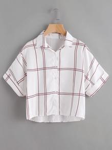 Grid Print Rolled Sleeve Dip Hem Shirt