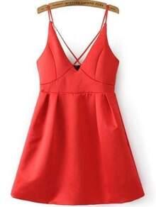 Criss Cross Bib Zipper Back Cami Dress
