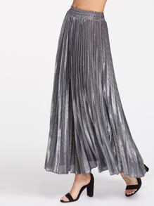 Silver Metal Elastic Waist Pleated Skirt