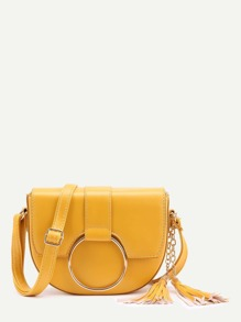 O-Ring Accent Tassel Saddle Bag