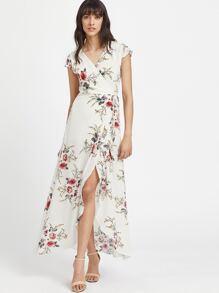 V Neckline Calico Print Slit Side Full Length Dress
