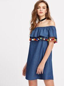 Pom Pom Trim Flounce Bardot Neck Chambray Dress