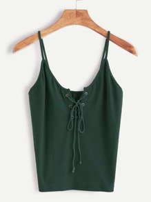 Lace-Up Front Cami Top