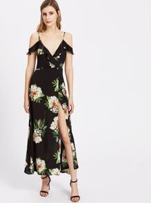 Florals Cold Shoulder Frill Trim Tie Back Wrap Dress