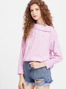 Fold Over Neckline Pinstripe Curved Hem Top