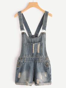 Ripped Cuffed Overall Denim Shorts