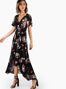 Short Sleeve Wrap Maxi Print Dress BLACK