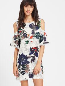 Tropical Print Cold Shoulder Lace Trim Dress