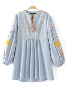 Drop Shoulder Seam Tassel Tie Embroidery Dress
