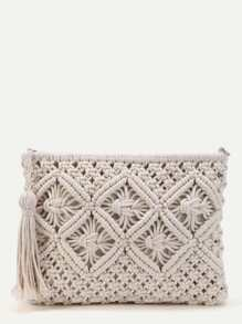 Crochet Clutch Bag With Tassel