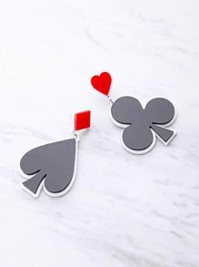 Two Tone Poker Symbol Drop Earrings