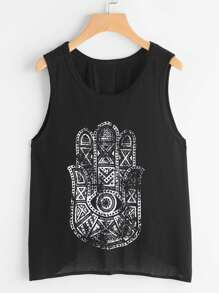 Printed Wrap Back Tank Top