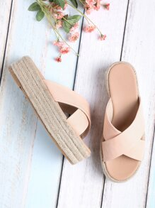 Cross Strap Woven Flatform Sliders
